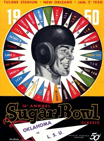 1950 Sugar Bowl game program between Oklahoma vs LSU on 1/2/50