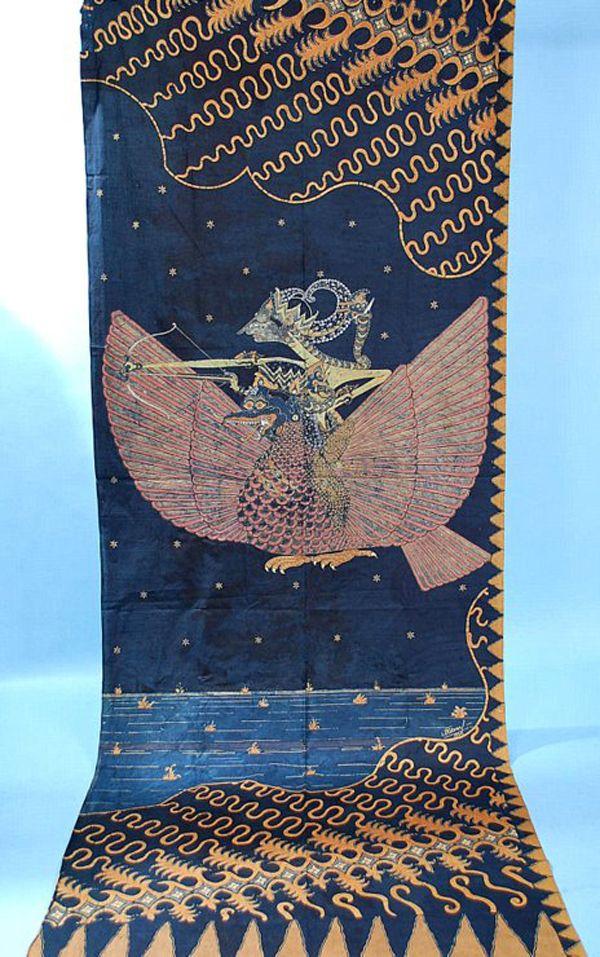Dramatic Indigo Javanese Batik Theatre Curtain dated 1926