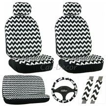 Dec out your car in the trendy #chevron pattern in black and white. Chevron Car Seat Cover 11 Piece Set - includes 2 front seat covers, bench back cover, steering wheel cover and seat belt pads. Available at CarDecor.com.