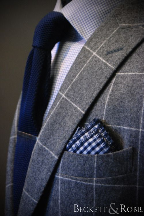 One of our most popular suit cloths this season. 100% wool, 10.5oz, super 120's carded flannel in a medium gray with a large overcheck. Shirt, tie, tie bar, and pocket square also by B&R.
