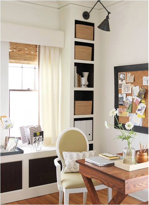 """This is a lovely, organized and simple design with a punch of """"wow"""" in the chair.  Great small space office design."""