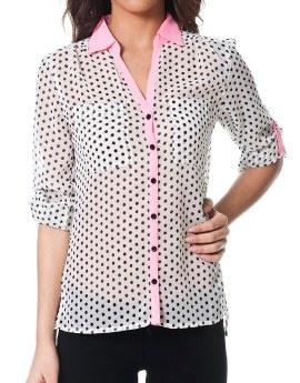 Woman - shirts - Polka dot drop hem shirt - Terranova Online Shop United Kingdom