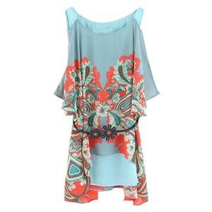 Asymmetric Fake Two-piece Off-shoulder Floral Blue Dress | pariscoming