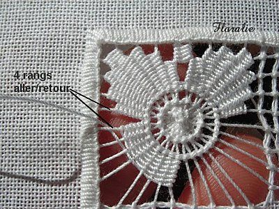 Les Jour Cilaos ...3 ~ step-by-step photo tutorial of two different square drawn thread filling patterns (in French) ~ by Dentelle et Broderie