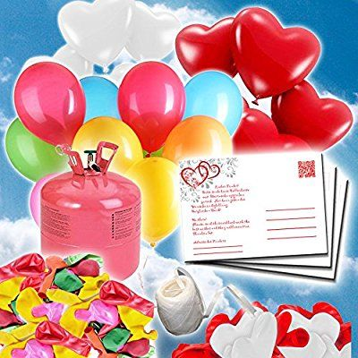 70 Ballonflugkarten zur Hochzeit GELOCHT, PORTOFREI möglich, Flugkarten für Hochzeitsballons im Set zum Hochzeitsspiel im Ballonflugkartenset - Hochzeit rote Herzen