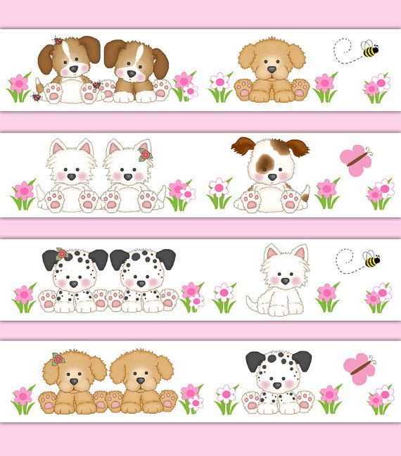 PUPPY NURSERY DECOR Wallpaper Border Wall Decal Sticker Baby Girl Childrens Dog Art Bedroom Kids Room Shower Bee Butterfly Gift Decorations #decampstudios