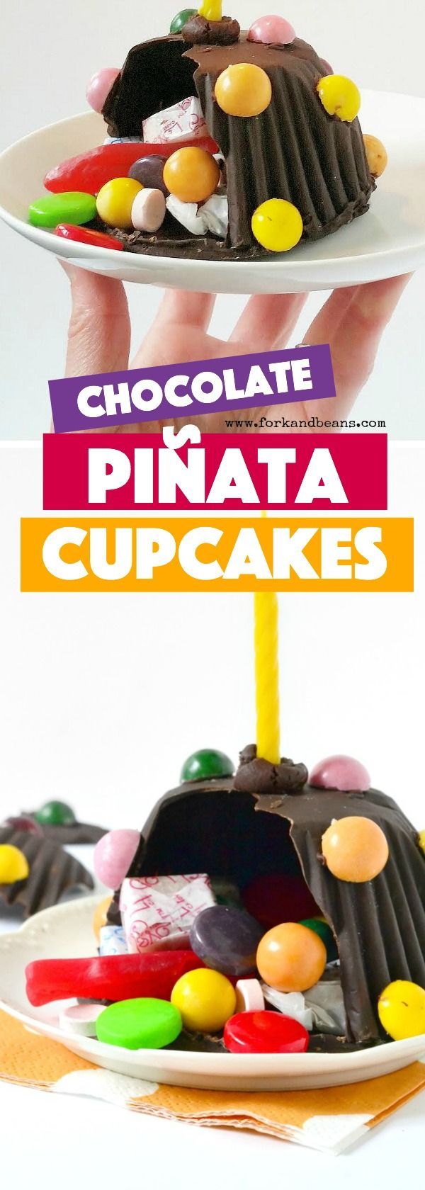 """With a hard chocolate shell filled with a surprise of tasty candy, these Chocolate Pinata Mini Cakes are a unique and creative way to say """"Let's party!"""""""