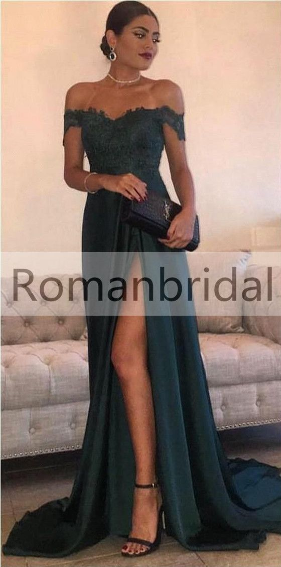 2018 Gorgeous Floor-Length Split Off-the-Shoulder Lace Elegant Long Evening  Dress f0c660fb4ca1