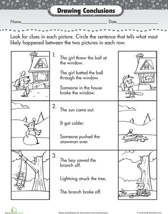 Worksheets: Story Comprehension: Drawing Conclusions
