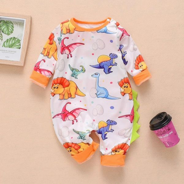 Adorable Dino Print One Piece Jumpsuit for Newborn Baby in Orange