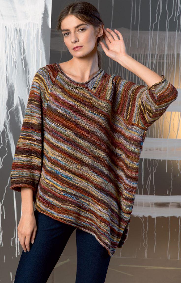 Breien met Knotje.nl Deze trui is gemaakt met LANG Yarns Fiora. Lang Yarns Fiora is een heerlijk lente- en zomergaren in prachtige kleuren mat en glans met elkaar gemengd.  Door de combinatie van materialen, lekker zacht en luchtig en zeer geschikt voor lente- en zomerbreipatronen en accessoires.  Model en patroon staan in het patronenboek FaM 243 Urban. (Model 49)