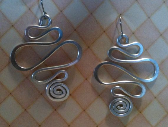 Aluminum Wire Jewelry Earrings Fat Squiggles and Swirls Lightweight Non Tarnish Silver or Multicolor