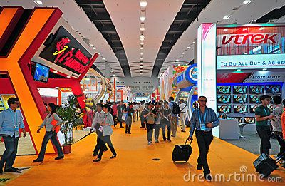 Activities of buyers and visitors at the massive hall 10.3 of canton fair exhibition hall where electronics items displayed