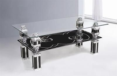 Glass Coffee Table Clear Top  flower stripe design Bottom shelf 7 Star Furniture