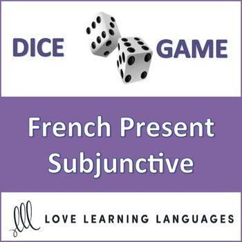 This is an easy to play 30 minute dice game to practice the French present subjunctive with 30 different verbs including regular ER, IR and RE verbs + YER verbs, ÊTRE, POUVOIR, LIRE, PRENDRE, ALLER, DIRE, APPRENDRE, SORTIR, AVOIR, SAVOIR, ÉCRIRE, COMPRENDRE, VOIR, FAIRE, CONDUIRE, BOIRE, VENIR, DORMIR, VOULOIR, METTRE and PARTIR.