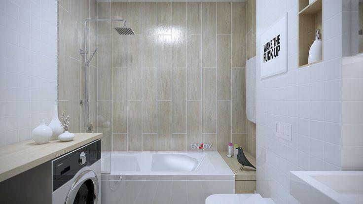 интерьер ванной комнаты в бело-бежевых тонах
