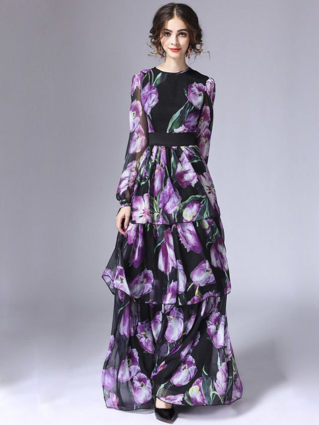 STEPHANIE Women's Casual/Daily Vintage Sheath DressFloral Round Neck Maxi Long Sleeve Purple Cotton / Polyester Winter High Rise Inelastic Thin - USD $71.24 ! HOT Product! A hot product at an incredible low price is now on sale! Come check it out along with other items like this. Get great discounts, earn Rewards and much more each time you shop with us!