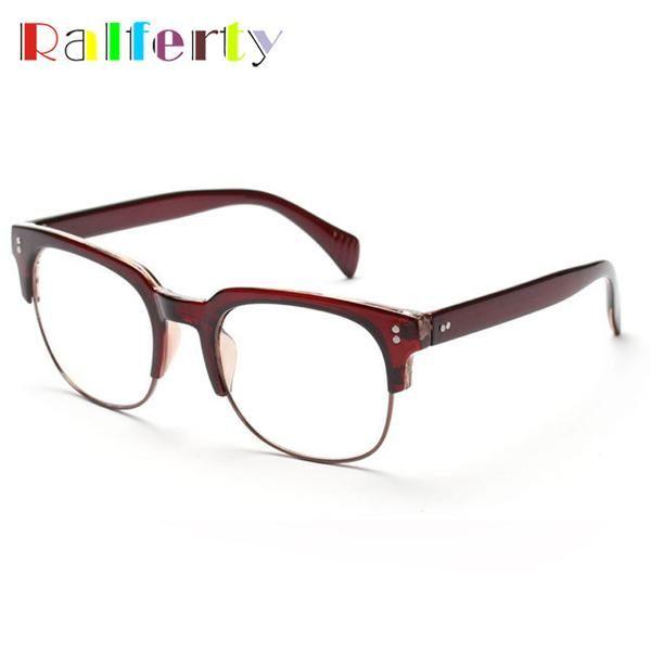 FuzWeb:Ralferty Men Semi-rimless Plastic Square Eyeglass Frame Vintage Women Optical Glasses Frames Eyeglasses monturas de gafas 1810