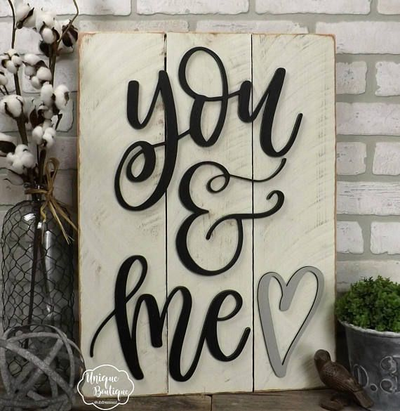 You & Me Rustic Shiplap Sign, Farmhouse wall decor, Rustic Valentine's Decor, Wooden shiplap sign 23×17 gallery wall, wedding gift, Love