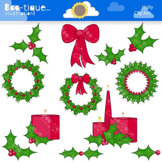 12x Holly, Christmas wreath and Candles Digital ClipArt for Instant Download