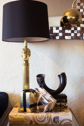 Simple, shiny accents for a sophisticated holiday end table.