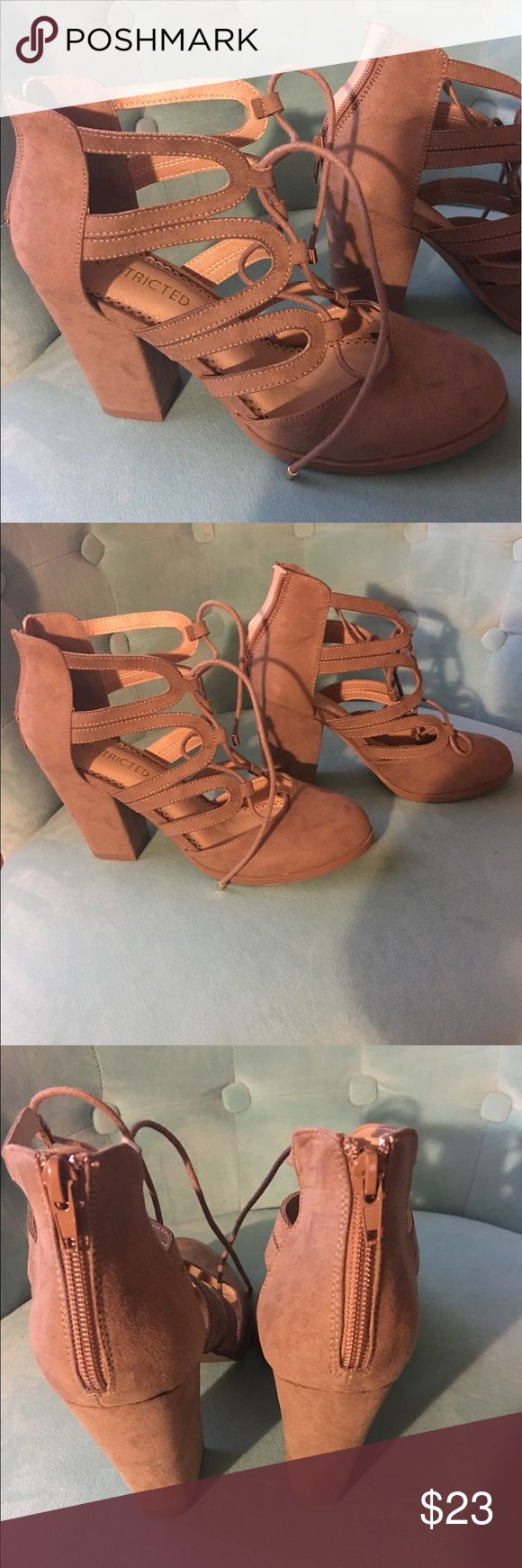 "Faux suede tan tie up heels. Never worn. Brand new ""Restricted"" brand from South Moon Under. Light tan, faux suede. Perfect condition. They are too small for me. Restricted Shoes Heels"