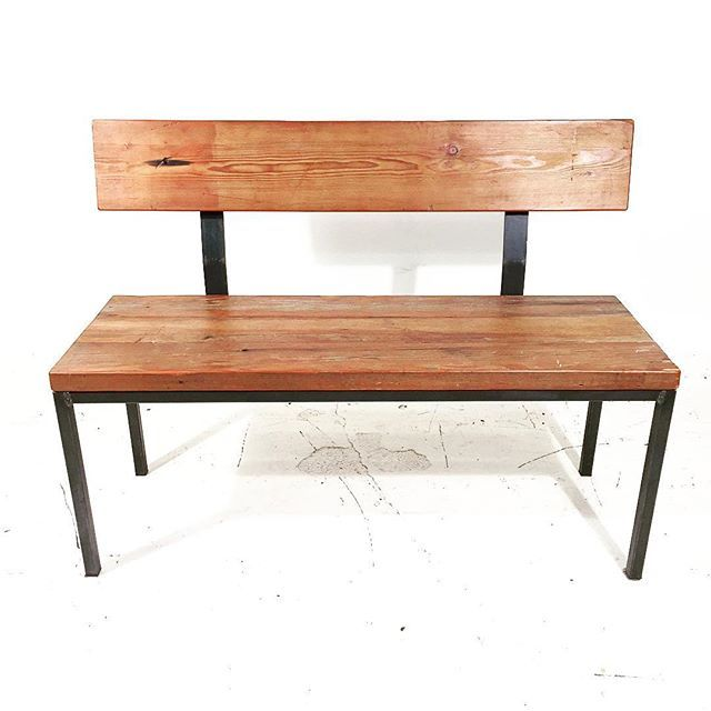 "Bench with Back Reclaimed Fir & custom Classic welded frame 44"" x 16"" x 18/32"" .  #Sale #CustomFurniture #MadeInVancouver #WoodAndSteel #LocalYVR #Vancouver #Edmonton #Calgary #Kelowna #Kamloops #Studio126 #MadeInCanada #ReclaimedWoodFurniture #RedDeer #Desk #Canmore #WestCoastIndustrial #HandcraftedInVancouver #IndustrialDesign #Portland #Seattle #126original #PostOffice #HistoryIncluded #Fir #Table #Bench"