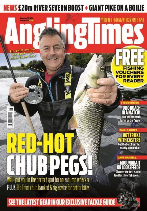 In this Issue:    FREE Fishing vouchers for every reader    Red-hot chub pegs - We'll put you in the perfect spot for an autumn whacker PLUS 8lb Trent chub banked & rig advice for better bites    NEWS: £20m river severn boost + giant pike on a boilie    Steve Ringer - 900 roach in a match! How you can catch faster on the feeder    Paul Garner - Hot tricks with casters, get the best from this deadly autumn bait    Dave Harrell - Groundbait or loosefeed? Discover the best way to feed for silve