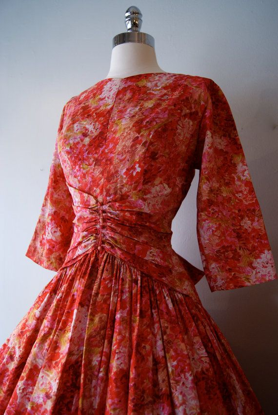 Vintage 1950's Garden Party Dress/ 50s red and by xtabayvintage, $248.00