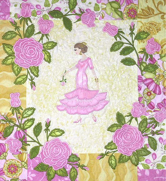 Spanish dancer rose appliques quilt - Latin Girls and Elegant Rose embroidery designs from A Bit of Stitch
