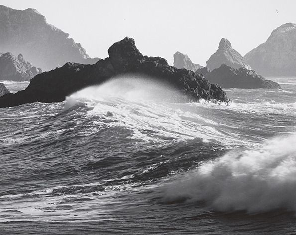 Ansel Adams Beach Line | Ansel Adams: Waves, Dillon Beach, California 1964 (Courtesy Center for ...