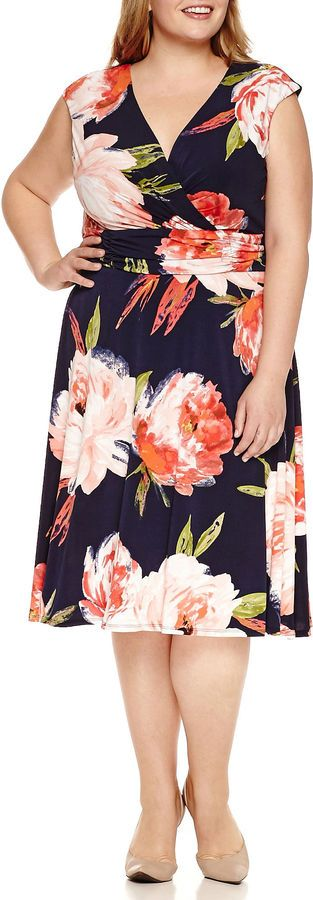 Such a pretty print!  Plus Size Fit & Flare Dress