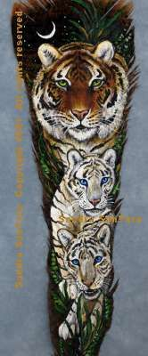 Family Outing ---Bengal Tiger with Cubs painted feather print