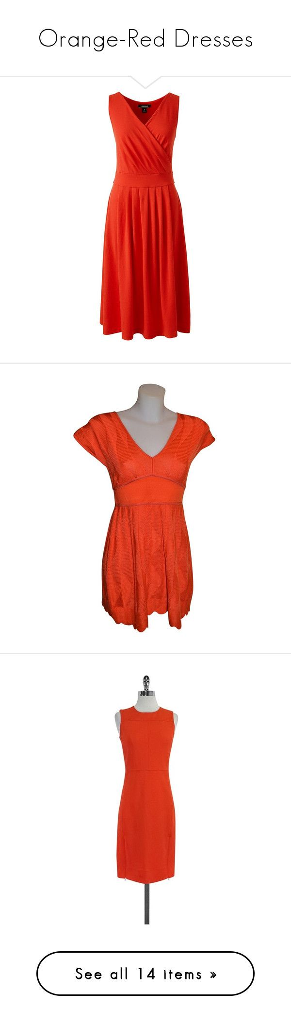 """Orange-Red Dresses"" by tegan-b-riley on Polyvore featuring dresses, orange, orange dresses, lands end dresses, fit flare dress, summer dresses, petite summer dresses, woolen dress, missoni and red dress"