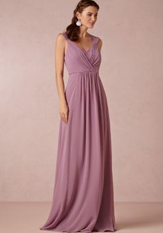 A line Queen Anne Chiffon Sleeveless Floor Length Bridesmaids Dresses With Ruching - Angeldress.co.uk