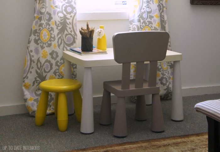 Kids table set makeover with spray paint and left over chalk paint. Update an older kids (even a plastic one!) set with paint to match your decor.