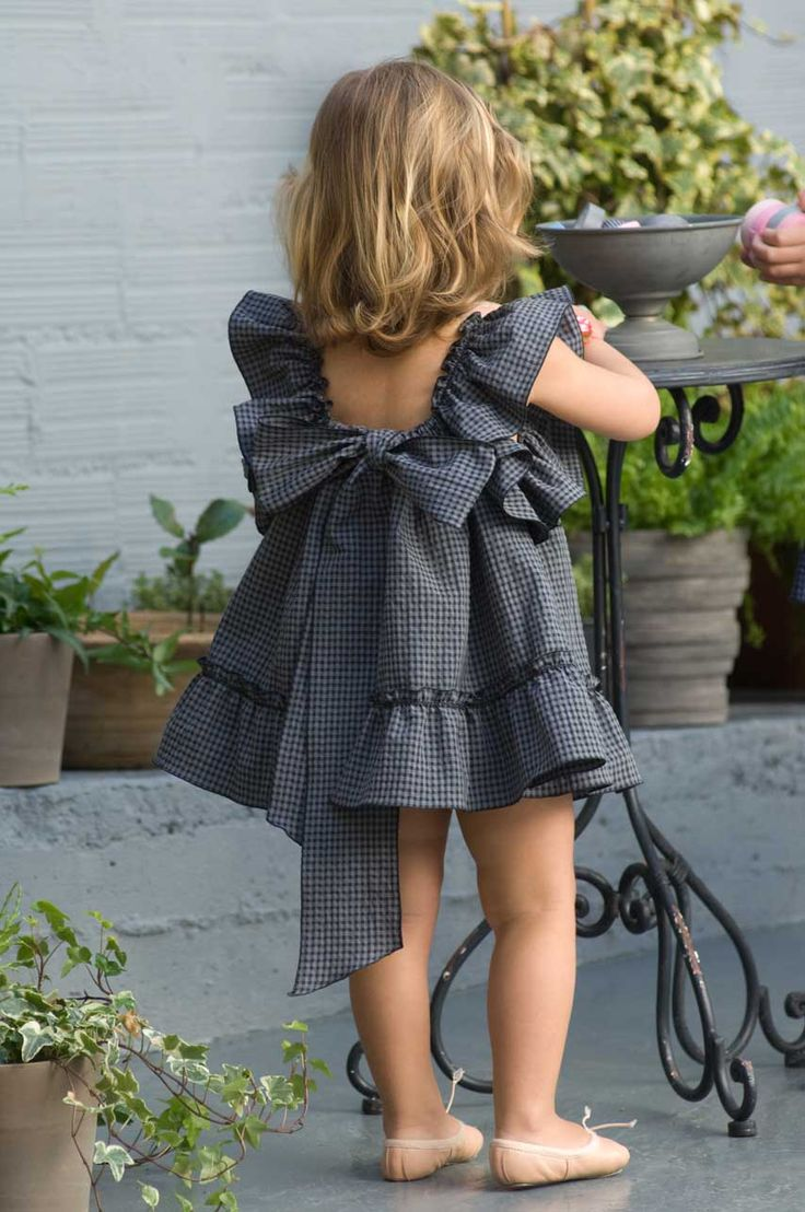 What an adorable look: Baby ballet slippers and Black & blue gingham big bow dress!!!