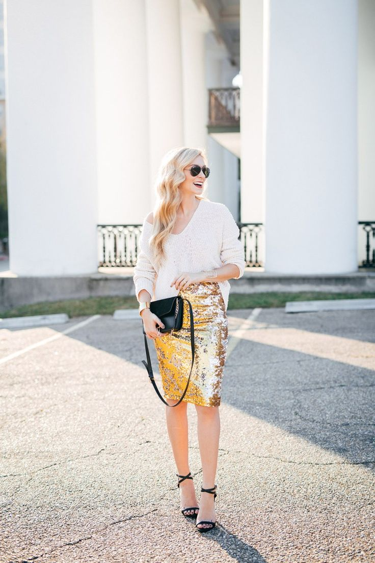 A Pinch of Lovely - Two Classic & Glam Holiday Party Outfit Ideas. White knit sweater+golden pencil skirt+black ankle strap heeled sandals+black crossbody+sunglasses. Christmas Party Outfit 2016