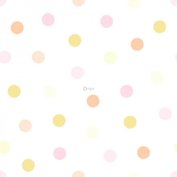 347510 lijmdruk vlies behang stip lichte pastel geel, licht pastel perzik oranje peach, licht pastel oud poeder roze en mat wit