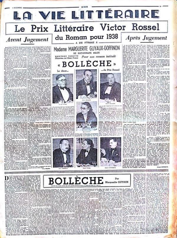 La page 9 du « Soir » du 5 décembre 1938. En page 3 ( »Dernières nouvelles »), on peut lire l'interview de Marguerite Guyaux-Goffinon et le discours de Lucien Fuss, rédacteur en chef. © Le Soir.