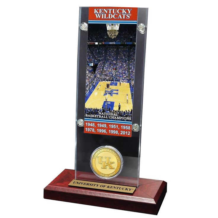 Highland Mint University of Kentucky Basketball National Champs Ticket Plaque with Bronze Coin
