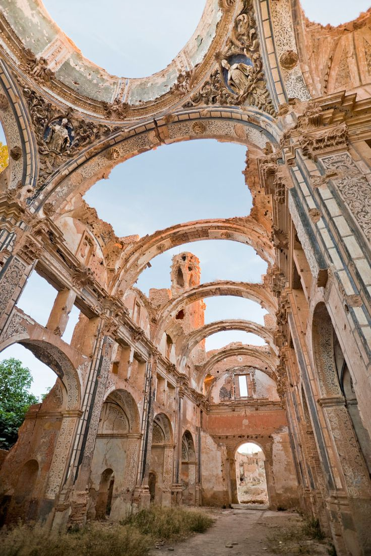 Iglesia de San Agustin in Belchite, Spain. South of Zaragoza.