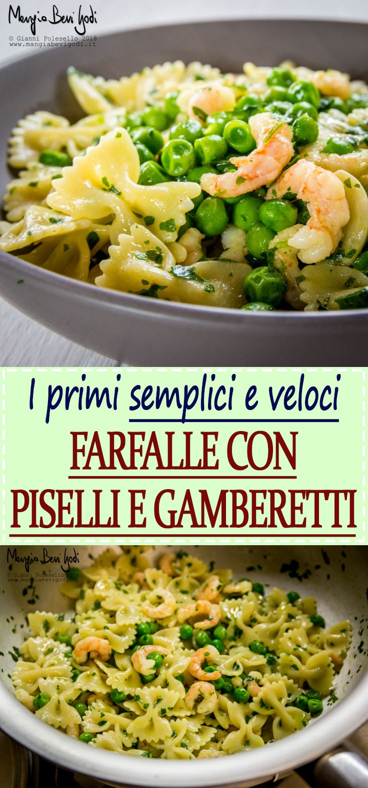 Un classico primo piatto di pasta primaverile a base di piselli surgelati e gamberetti.