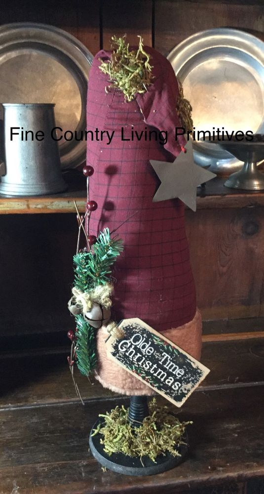 "Primitive Country Christmas Large 20"" Santa Hat Make Do ~ Olde Time Christmas #NaivePrimitive"