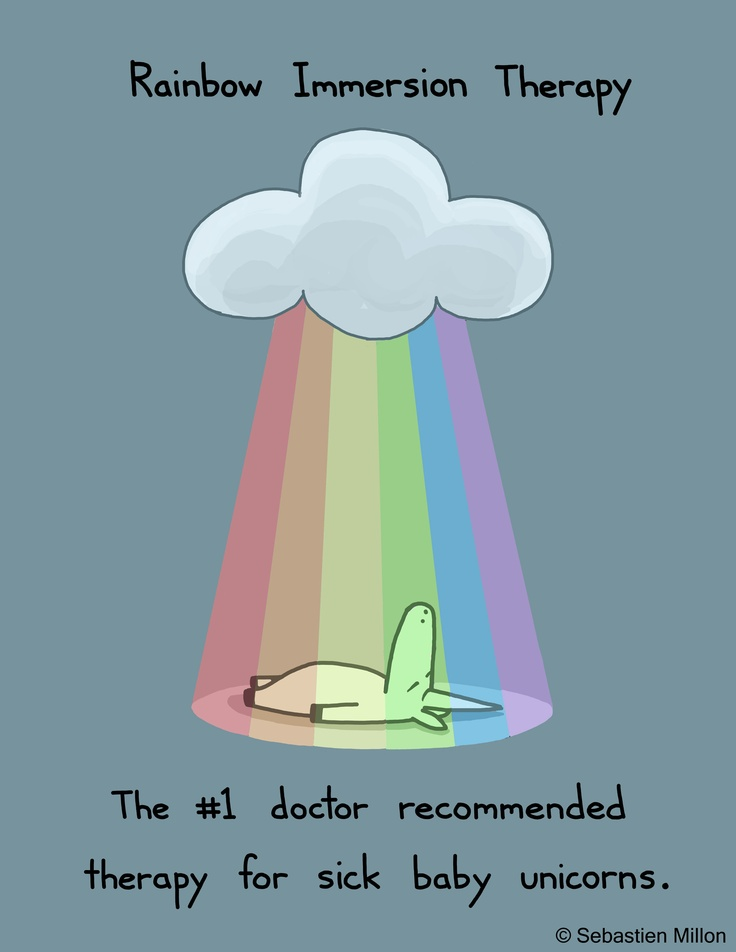 Rainbow Immersion Therapy: The #1 doctor recommended therapy for sick baby unicorns.  By Sebastien Millon. #rainbow #unicorn @Jeanne Cunningham Fizer