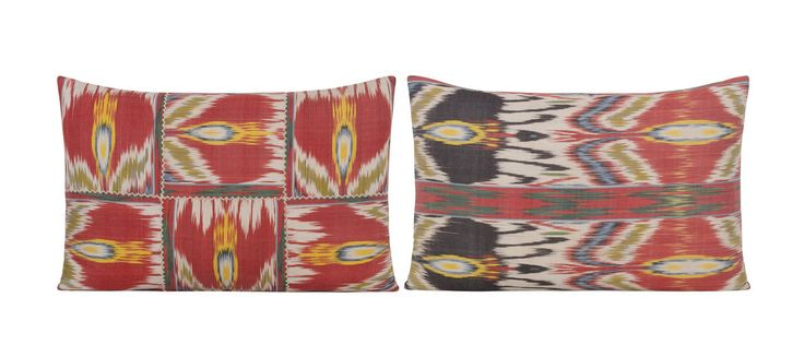Pair of Yastik Isolabella Ikat Cushions by Rifat Ozbek   From a unique collection of antique and modern pillows and throws at https://www.1stdibs.com/furniture/more-furniture-collectibles/pillows-throws/