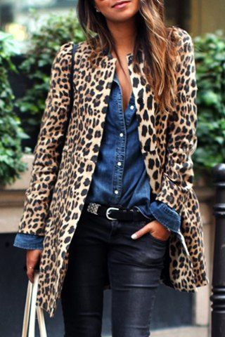 Chic Women's Jewel Neck Leopard Long Sleeve Coat - as