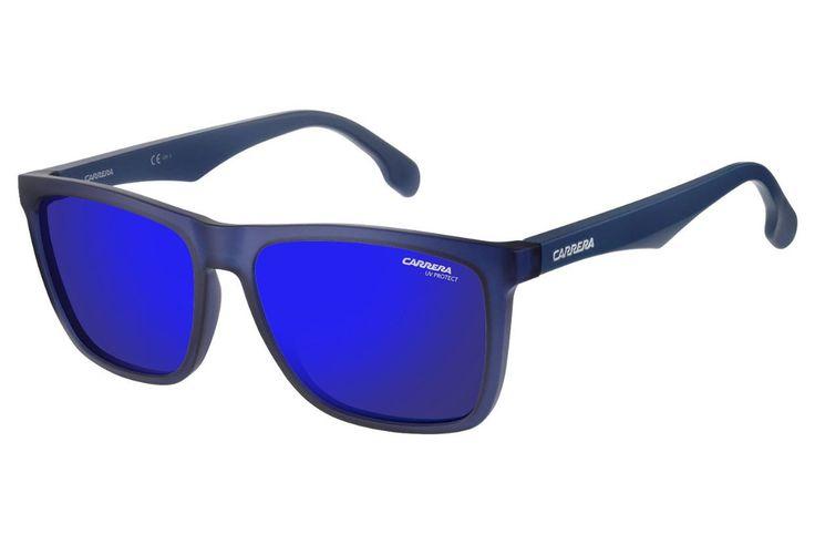 Carrera - 5041/S Matte Blue Sunglasses, Blue Sky Mirror Lenses