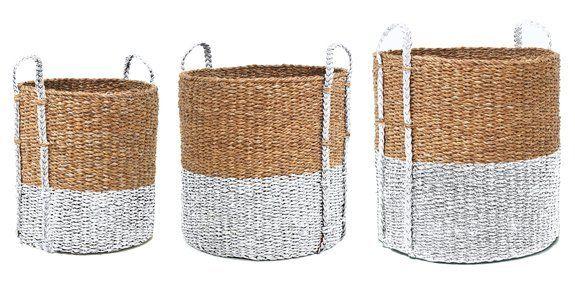 HK-living Cesti per la biancheria di rattan set di 3, marrone / bianco, Ø 30,46 e 57 centimetri