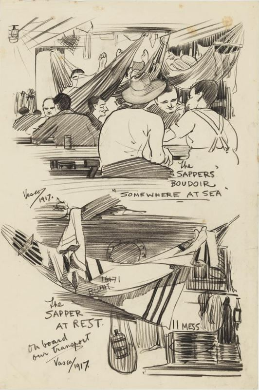 """""""Ragtime"""" sketches by Louis Vasco (Vasco Loureiro), a WWI soldier. These caricatures illustrate life on board transport ships to Europe and beyond."""